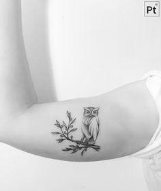 owl pointillism tattoo