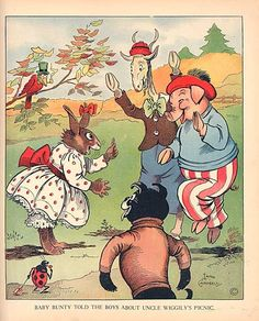 1925 Animals Picnic. by illustrator Lang Campbell. Uncle Wiggily Adventure book by Howard Garis.  published by Charles Graham Co.