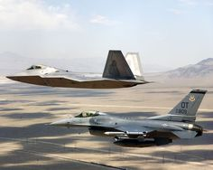 F-22 Raptor & F-16 Falcon. 2 of my favorite fighter jets