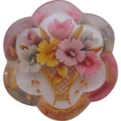 Vintage Reversed Carved Pastel Flower Basket Pin-Brooch offered by Ruby Lane Shop, Vintage Jewelry Lounge. #Brooch