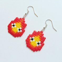 Calcifer earrings hama mini beads by geekgirlworkshop