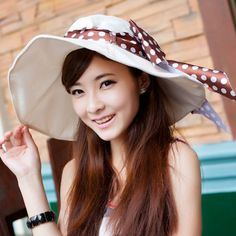 2014 New Women's hat summer beach hats summer linen folding large brim hat sunbonnet big sun hat along the cap #C320G-inSun Hats from Appare...