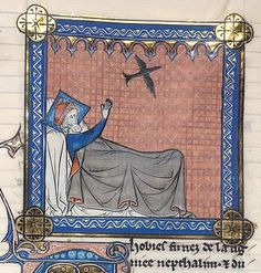 Detail of a miniature of Tobias in bed, stretching out his hands towards a flying black caladrius bird, at the beginning of Tobit, from a Bible (imperfect), France (Paris), last quarter of the 13th century, Harley MS 616, f. 259r