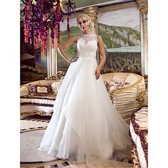 A-line+Princess+Queen+Anne+Court+Train+Organza+And+Lace+Wedding+Dress+(632799)+–+CAD+$+354.50