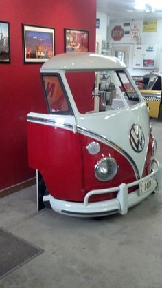 VW split bar Garage, ideas, man cave, workshop, organization, organize, home, house, indoor, storage, woodwork, design, tool, mechanic, auto, shelving, car.