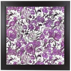 "East Urban Home 'Vintage Flower Purple - Square' Framed Graphic Art Print Size: 13.5"" H x 13.5"" W x 1"" D"