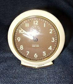 1940s Westclox Baby Ben Ivory/Brown Analog Wind-Up Alarm Clock VGUC Works Great.