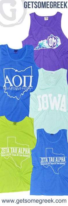 Sorority Shirts! Sorority Tank Tops! We're loving all of the Sorority State Tanks we've done this semester! Show your state pride and start your own custom State Tank Top for your chapter by e-mailing Sales@GetSomeGreek.com today! Alpha Omicron Pi, Kappa Alpha Theta, Phi Mu, Zeta Tau Alpha!