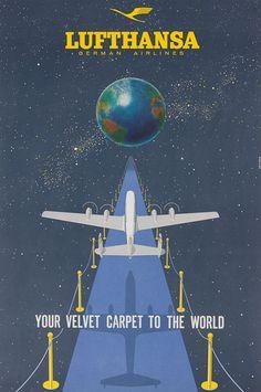 Lufthansa - Your Velvet Carpet to the World #vintage #travel #poster