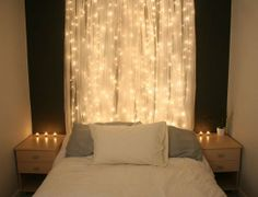 Romantic bedroom lighting decoration ideas are essential to make your romantic getaway successful. Hanging Christmas Lights, Decorating With Christmas Lights, Xmas Lights, Holiday Lights, Icicle Lights, Hanging Lights, Night Lights, Holiday Decor, Floating Lights