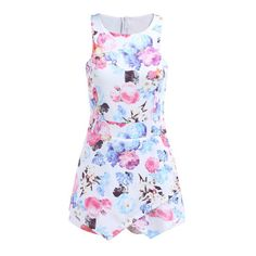 SheIn(sheinside) Sleeveless Floral Bodycon White Dress (1,015 DOP) ❤ liked on Polyvore featuring dresses, vestidos, multicolor, body con dress, mini dress, colorful bodycon dress, floral print dress and multi color bodycon dress
