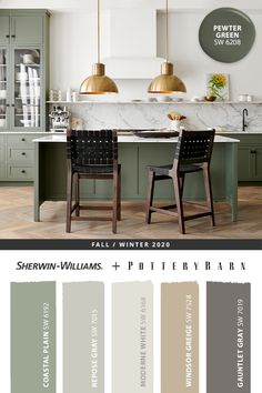Make your kitchen the star of your home with cabinets painted in Pewter Green SW 6208, part of the @potterybarn Fall/Winter 2020 paint palette. Tap the pin to find more Sherwin-Williams color inspiration. #sherwinwilliams #potterybarn #DIY #decor #kitchen #interiordesign #homedecor #painting #colorinspiration #renovation #paint #fall #winter Kitchen Redo, New Kitchen, Kitchen Remodel, Kitchen Design, Kitchen Interior, Kitchen Paint Colors, Kitchen Color Schemes, Green Kitchen Paint, Pottery Barn Paint Colors