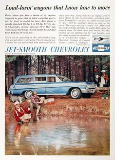 1962 Chevrolet Impala Station Wagon original vintage advertisement. Load lovin' wagons that know how to move.