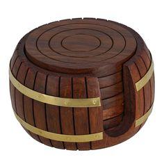 india bigshop Regalo di giorno del padre set di sottobicchieri in legno tè turno 6 in antico barile titolare ispirato: Amazon.it: Casa e cucina