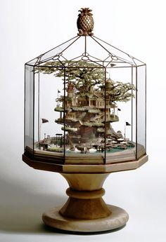 Takanori Aiba: Intricate building sculpture in the bonsai style 191 x 263 Tiny Paradise, Sculpture Metal, Bonsai Styles, Fairy Houses, Tree Houses, Glass Domes, Model Homes, Architecture, Oeuvre D'art
