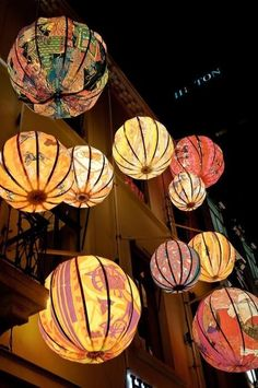 Paper Lanterns (repurpose torn lanterns by papier mache)