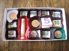 Box of money - better than a box of chocolates! haha This would be awesome to give!    kids usually ask for money, great idea