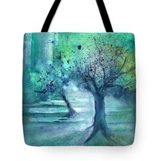 Olive Trees in Moolight Tote Bag for Sale by Sabina Von Arx Teal Blue, Blue Green, Green Bathroom Decor, Thing 1, Olive Tree, Poplin Fabric, Bag Sale, Green Colors, Reusable Tote Bags