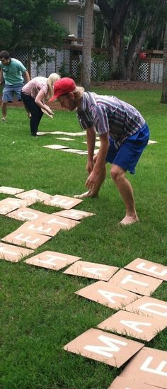 "LOVE this! // Backyard Scrabble (or Bananagrams): There are 144 ""tiles."" Here's how many of each letter you need. 2: J, K, Q, X, Z 3: B, C, F, H, M, P, V, W, Y..."