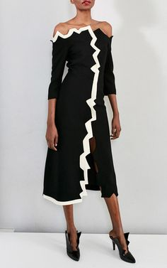 This **Tata Naka** off the shoulder jagged edge dress features an asymmetrical neckline, contrasting piping and a front split.