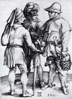 Three Peasants In Conversation, 1497   Albrecht Durer