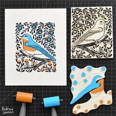 Bluebird - Original Block Print by Andrea Lauren