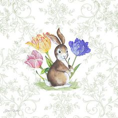 Blue Painting - Bunnies In The Tulips-b by Jean Plout