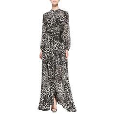 Pre-owned Michael Kors Black And Gray Leopard Animal Print Maxi Dress ($165) ❤ liked on Polyvore featuring dresses, gowns, black and gray, leopard print dress, long evening gowns, long maxi dresses, leather tie belt and leather belt