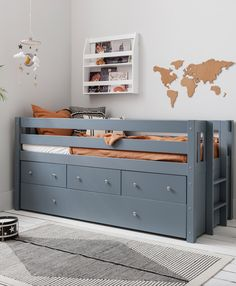Our multifunctional Matilda Bed optimises space for smaller bedrooms. This chic cabin bed caters to all your storage needs. Minimal styling, a chic grey shade and clean lines promote a neat and tidy vibe – now who doesn't want that for their children's bedroom? Underbed Storage Drawers, Bedroom Storage, Storage Spaces, Modern Kids Bedroom, Cabin Bed, Bed With Underbed, Under Bed Storage, Small Space Storage, Storage Drawers