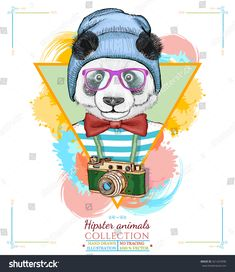 Portrait of fashion panda, panda in the vest hipster animals panda head hand drawn vector illustration