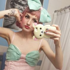 Mint and pink dress and bow, made by Stella Rose
