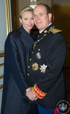 royalfanzine:  Princess Charlene and Prince Albert at the end of Monaco National Day festivities, November 19, 2013