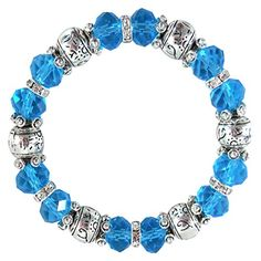Plus Size Stretch Bracelet - Sparkling Blue Glass Crystals, Rhinestone Spacers, Large Comfy 8 Inch ** You can find more details by visiting the image link.