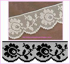 Dois modelos de barrados de crochê para toalhas e panos de copa com motivos de rosas.