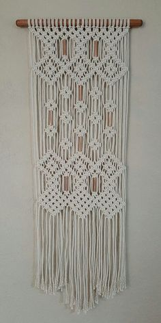 Macrame wall hanging with copper beads