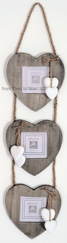 Wooden heart photo holder. Use regular frames and shells instead of hearts
