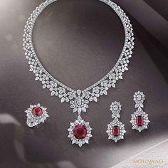 The Imperial Desire diamond and ruby suite. Diamond Necklace Set, Diamond Pendant, Diamond Jewelry, Ring Earrings, Yellow Jewelry, Infinity Pendant, Necklace Designs, Beautiful Necklaces, Wedding Jewelry