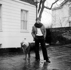 paul mccartney and martha, his home in st. john's wood, 12/67