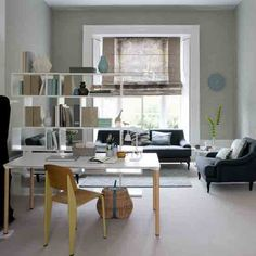 Office living room Two Person Openplan Living Room With Grey Textured Wallpaper Neutral Floor White Open Shelving White Coffe Table And Stylish Wooden Chair Pinterest Layout Ideas For Combo Living Room Home Office Living Room Home
