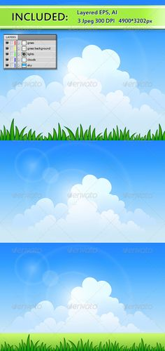 Vector blue sky and green grassFile included Eps and Ai formats , 3 jpg