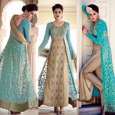 Nargis Sky Blue and Taupe Pant Style Anarkali Ladies Wear, Women Wear, Salwar Kameez, Kurti, Fashion Pants, Women's Fashion, Blue Dresses, Formal Dresses, Silk Blouses