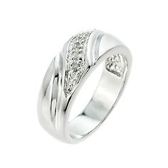 Men's 925 Sterling Silver Diamond Wedding Band - Brought to you by Avarsha.com