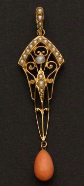 Art Nouveau 14k gold, 50 mm pearl & corral drop