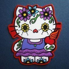 Hello Kitty Dia de los Muertos Magnet by sarahwasphone, via Flickr
