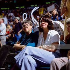 Microsoft founder Bill gates watches the action courtside in Game Three of the 1996 NBA Finals between the Seattle SuperSonics and the Chicago Bulls at Key Arena on June 9, 1996 in Seattle, Washington. The Bulls won 108-86.
