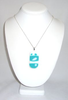 Fused Glass Pendant  White and  Turquoise with by elkescreations, $12.00