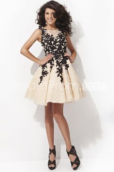 2014+Lace+Prom+Dress+Scoop+A+Line+Short/Mini+With+Black+Applique+And+Ribbon+Beaded