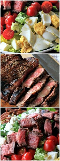 A savory Ribeye Steak Salad recipe served with loads of fresh vegetables, walnuts, and goat then served with a Homemade Balsamic Vinaigrette. This salad will rival any Steakhouse Salad. | http://joyfulhealthyeats.com