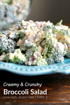 This creamy & crunchy broccoli salad is perfect for Summer barbecues, or you can enjoy it as a stand alone, high-protein THM S meal!