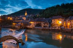 """Night falls in Lods, one of """"the most beautiful villages in France"""". Doubs, Franche Compté, France."""